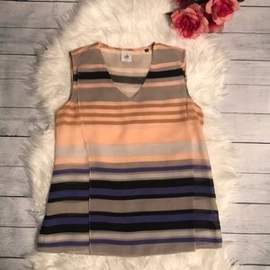 Cabi Underline #3273 Striped Sleeveless Blouse